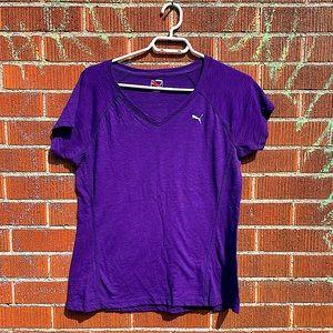 PUMA purple dry cell v-neck tee like new
